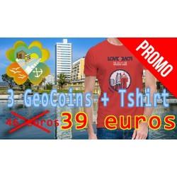 3 Geocoins + 1 Tshirt